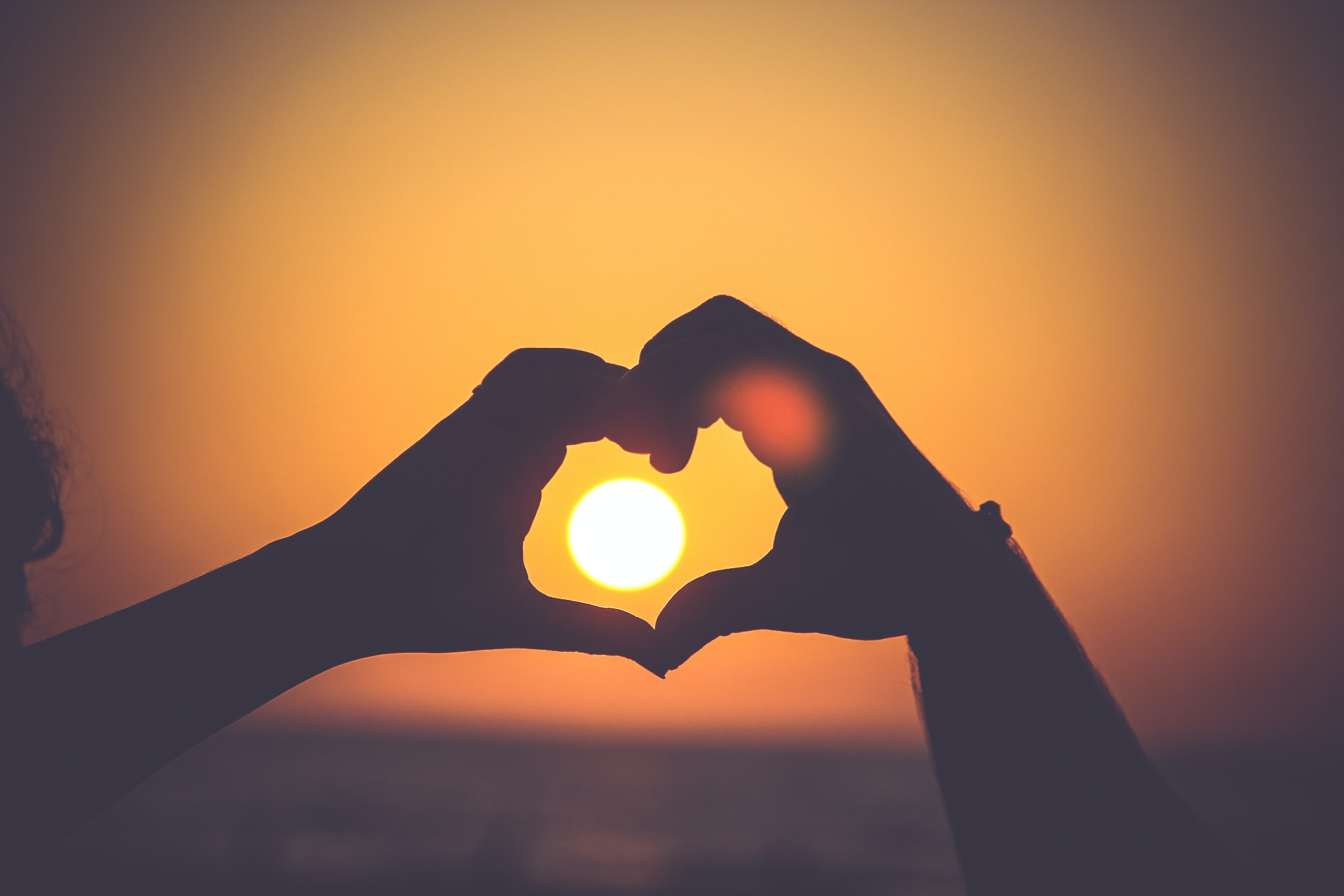 ręce złączone na kształ serca na tle słońca; źródło: unsplash